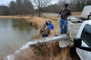 Timmy Sprouse and JR Campbell of Casta Line trout farm in Goshen, Va., release rainbow trout into Fish Hook Pond, where the Two-Person Team Trout Tournament will be held March 10.