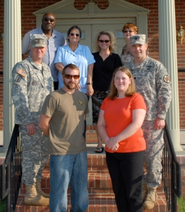 Fort A.P. Hill recognizes all nominees and employees of the year. Front row: Mr. Stephen Eger and Mrs. Jessica Glusing.  Middle Row: CSM Keith R. Whitcomb and LTC Peter E. Dargle. Third Row (top): Mr. George Caldwell (DOL), Mrs. Donna Eldridge (DOL), Mrs. Angie Young (DPW) and Mrs. Cathy Brooks (RMO).