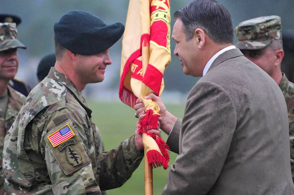 Lt. Col. Andrew Q. Jordan assumed command of the installation from Col. David A. Meyer by receiving the flag from Davis D. Tindoll, Jr., director, Atlantic Region, U.S. Army Installation Management Command.