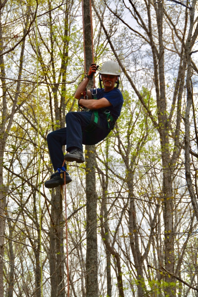 U.S. Army Garrison Fort A.P. Hill Fire Captain Samuel H. Hill III sits suspended high above the forest floor between two trees during a five day combined training session where firefighters and foresters learn and practice climbing techniques, ropes and rigging, precision felling, and rescue techniques.